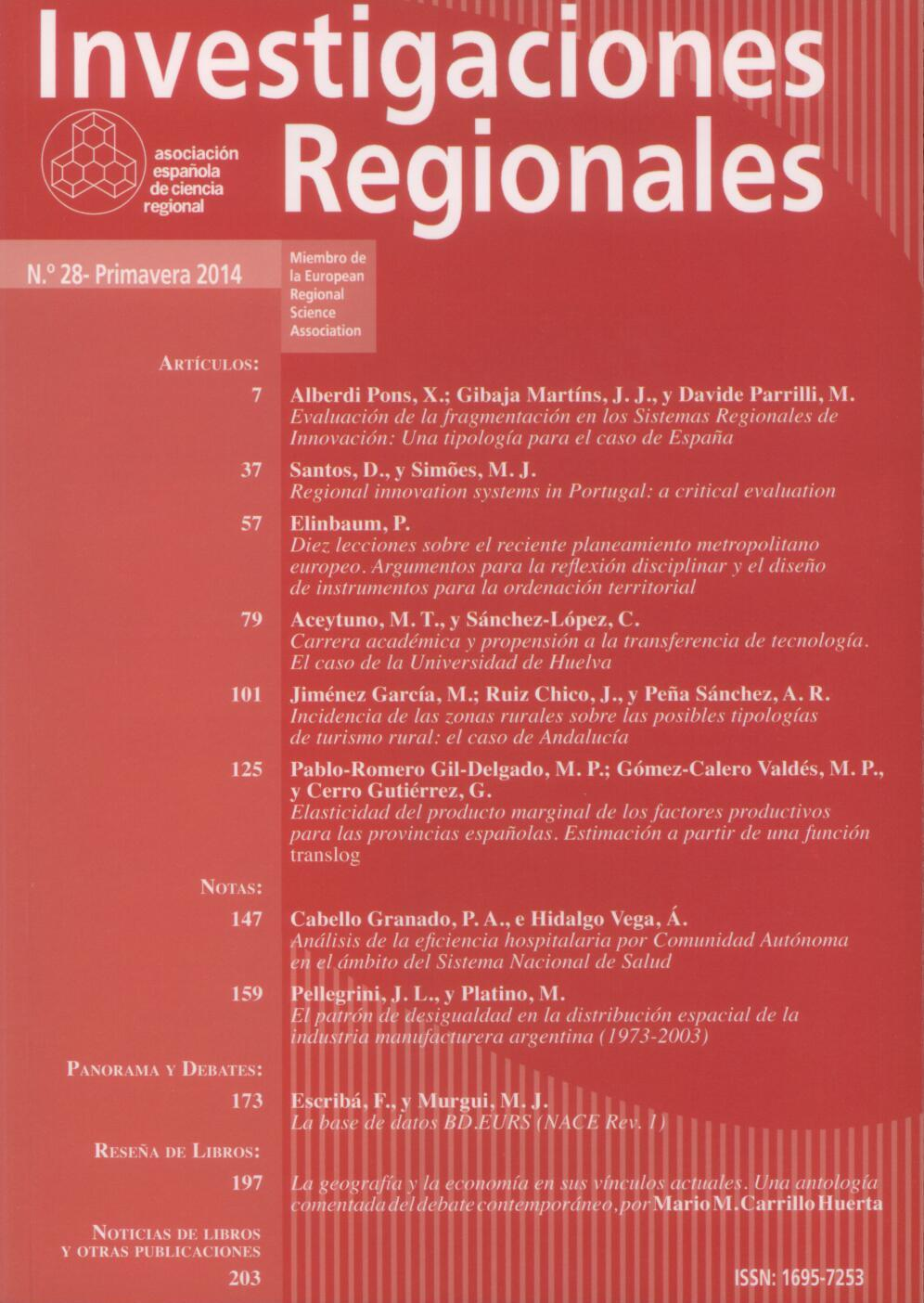 Investigaciones Regionales – Journal of Regional Research- Número 37 ya disponible con los links a todos los artículos