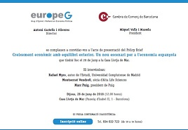 Acte de presentació del darrer Policy Brief d'europeG que tindrà lloc el proper 28 de juny a les 12h. a la Casa Llotja de Mar